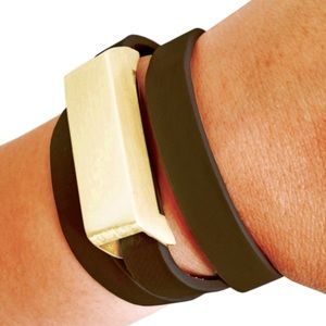 Gold and Black Leather Buckle Fitbit Bracelet